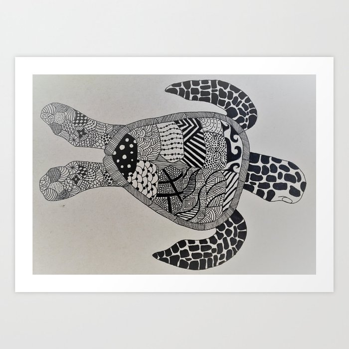 Trippy Turtle Art Print by dylandraws | Society6