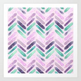 Love More Crystals Collection in Purple Chevron - Amethyst, Rose Quartz, Emerald Calcite, Rainbow Art Print