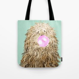 Puli Dog with Bubble Gum in Green Tote Bag