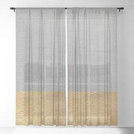 Color Blocked Gold & Grey Sheer Curtain