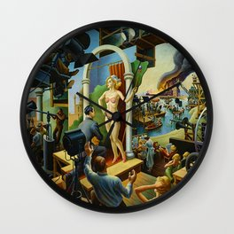 Classical Masterpiece 'Hollywood' by Thomas Hart Benton Wall Clock