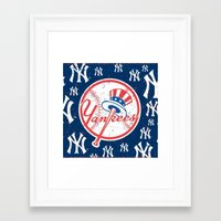 yankees Framed Art Prints featuring NY YANKEES by I Love Decor