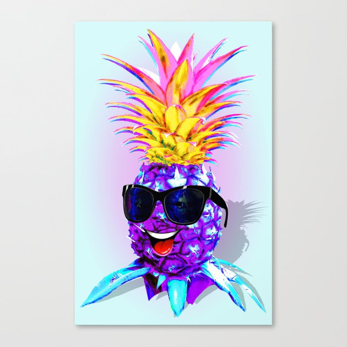2e3008b887c9 Pineapple Ultraviolet Happy Dude with Sunglasses Canvas Print by ...