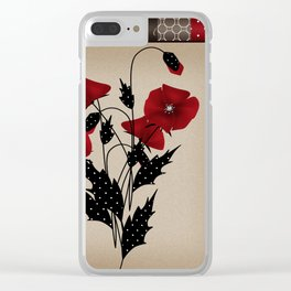 Flowers Art Poppies. Patchwork Clear iPhone Case