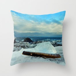 Spring Comes to the Beach in Ice that glows Blue Throw Pillow