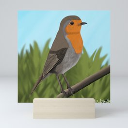 jz.birds Robin Redbreast Bird Design Mini Art Print