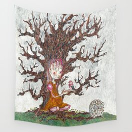 Robin in the Rain Wall Tapestry