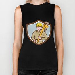 Plumber Holding Wrench Crest Cartoon Biker Tank