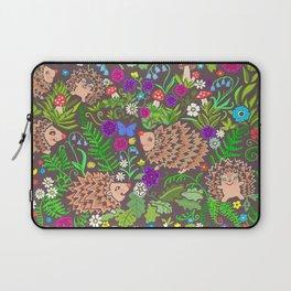 Hegehog fall forest, rainbow flowers and robins Laptop Sleeve