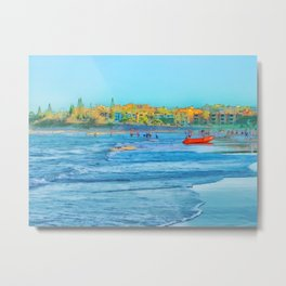 Abstract summer fun and surf rescue boat Metal Print