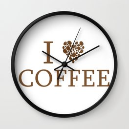 I Love Coffee Caffeine Addict Bean Statement Illustration Wall Clock