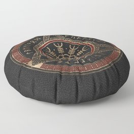 The Helm of Awe  Black and Red Leather and gold Floor Pillow