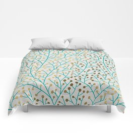 Berry Branches – Turquoise & Gold Comforters