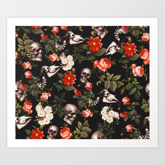 Floral and Skull Pattern Art Print
