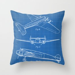 Lockheed Airplane Patent - Electra Aeroplane Art - Blueprint Throw Pillow