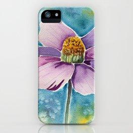 pink flower watercolor art iPhone Case