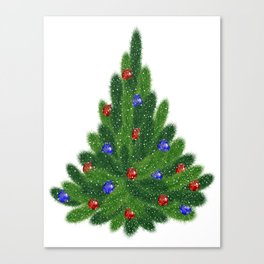 Christmas tree with red and blue balls Canvas Print