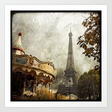 The Carousel and the Eiffel Tower - Paris Art Print