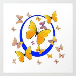 YELLOW BUTTERFLIES & BLUE RING MODERN ART Art Print