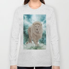 Awesome white lion in the sky Long Sleeve T-shirt