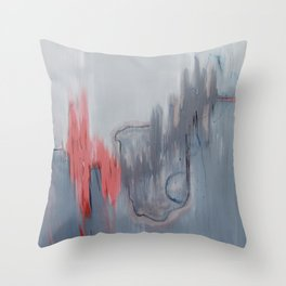 No. 15 Grey and Coral Ombre Pastel Abstract Painting  Throw Pillow