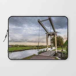 Canal and Bridge in Netherlands at Sunset Laptop Sleeve