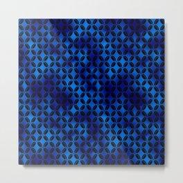 4 Leaf Quatrefoils in Black and Classic Blue Vintage Faux Foil Art Deco Vintage Foil Pattern Metal Print