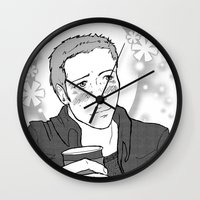 dean winchester Wall Clocks featuring Shoujo Style Dean Winchester by Miz Goat