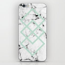 White Marble Concrete Look Mint Green Geometric Squares iPhone Skin