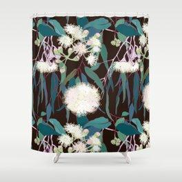 Australian Gumnut Eucalyptus Floral in White + Expresso Shower Curtain