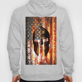 American Flag And Spartan Helmet On Rusted Metal Door - Molon Labe Hoody