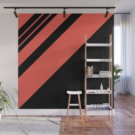 Modern simple geometrical bright orange black stripes Wall Mural