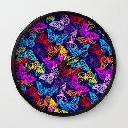 Multicolored Butterflies Pattern Wall Clock