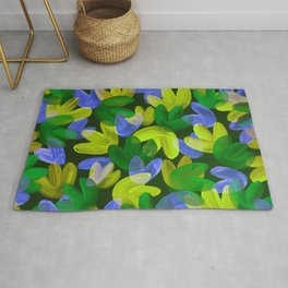 Vibrant Acrylic Painting Layered Tulips Floral Pattern Multi Colors Neon Blue Lime Yellow Green Rug