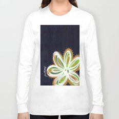 Navy and Gold Flower Long Sleeve T-shirt