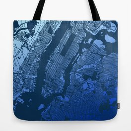New York City Manhattan Two Tone Map Tote Bag