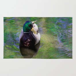 Duck on shimmering water Rug
