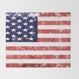 American Grunge Flag Throw Blanket