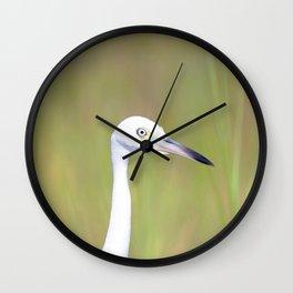 Watercolor Bird, Little Blue Heron 08, Janes Island, Maryland Wall Clock