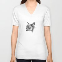 french bulldog V-neck T-shirts featuring French Bulldog by Squidoodle
