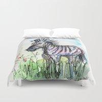 zebra Duvet Covers featuring Zebra by Olechka