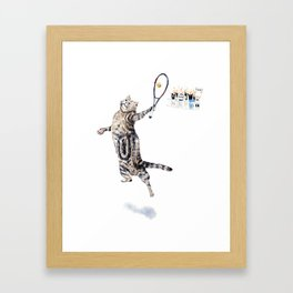 Cat Playing Tennis Framed Art Print