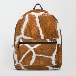 Close-up view of giraffe skin texture, animal print background isolated Backpack