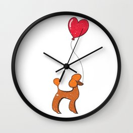 Poodle Heart Balloon Wall Clock