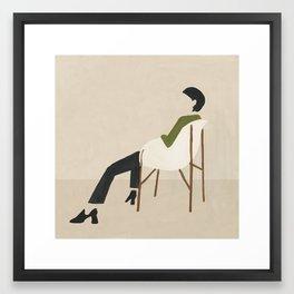 Eames Chair Woman Framed Art Print