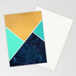 Gold,Navy,Teal abstract art Stationery Cards