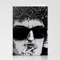 bob dylan Stationery Cards featuring Bob Dylan by Drawn by Nina