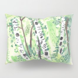 Birch Trees Watercolor Painting Pillow Sham