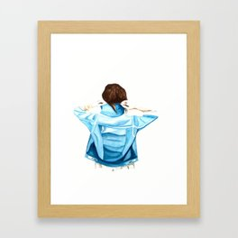 Girl with the Denim Jacket Framed Art Print