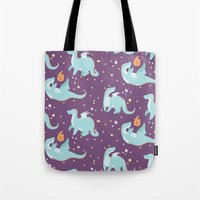 dragons Tote Bags featuring Dragons! by Maddii Bach